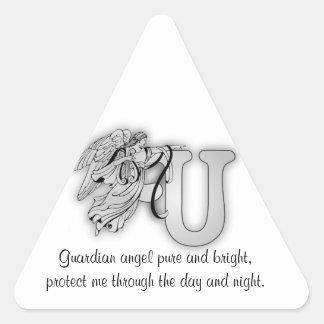 Letter U angel monogram alphabet initial Triangle Sticker