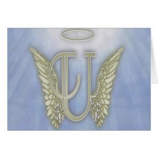 Letter U Angel Monogram Card