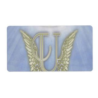 Letter U Angel Monogram Label