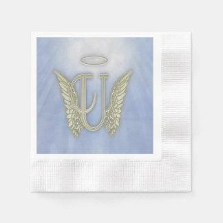 Letter U Angel Monogram Paper Napkin