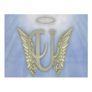 Letter U Angel Monogram Postcard