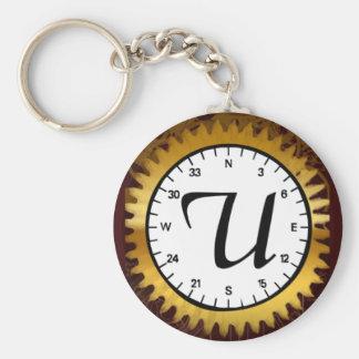 Letter U Clockwork Keychain