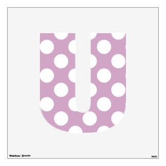 letter U cute kawaii polka dots shabby chic medium Wall Decal