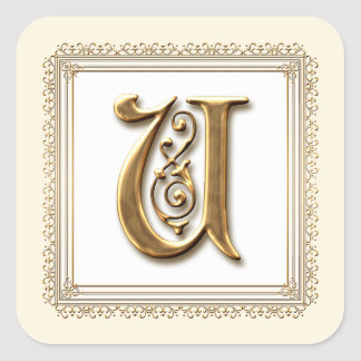 Letter U - Gold & Lace Classic Formal Wedding Seal