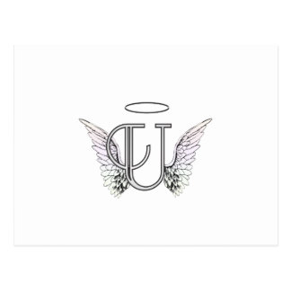 Letter U Initial Monogram with Angel Wings & Halo Postcard