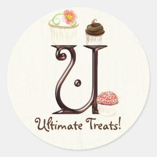 Letter U Monogram Cupcake Logo Business Stickers