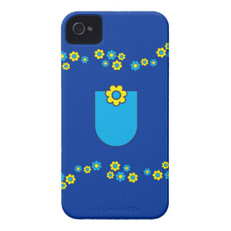 Letter U Monogram in Flores Blue iPhone 4 Cover