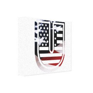 Letter U Monogram Initial Patriotic USA Flag Canvas Print