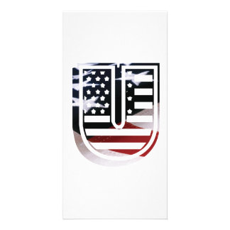 Letter U Monogram Initial Patriotic USA Flag Card
