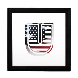 Letter U Monogram Initial Patriotic USA Flag Keepsake Box