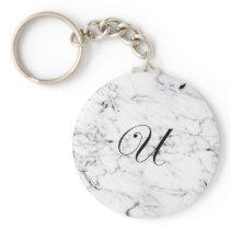 Letter U monogram Marble texture Keychain