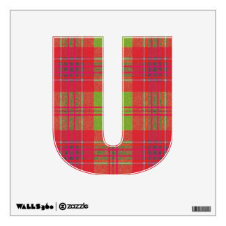 letter U punk plaid tartan college rock vintage Wall Decal