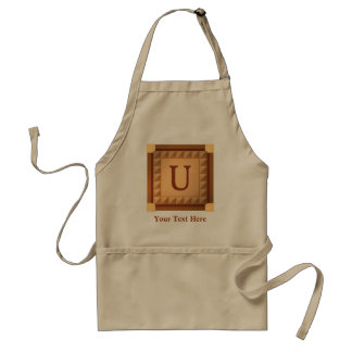 Letter U: Wood Look Initial with Custom Text Apron