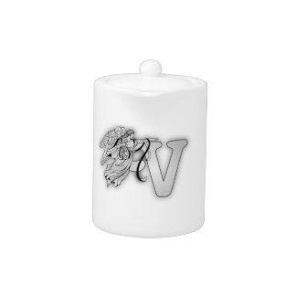 Letter V Angel Monogram Initial Teapot