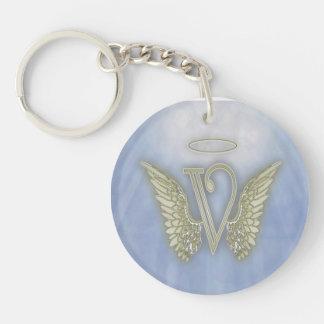 Letter V Angel Monogram Keychain