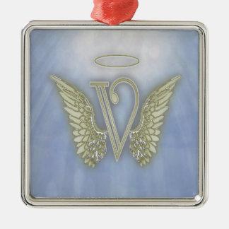 Letter V Angel Monogram Metal Ornament