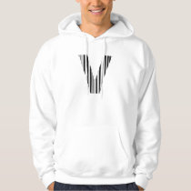 LETTER V BAR CODE First Initial Barcode Pattern Hoodie