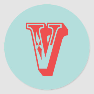 Letter V carnival style monogram initial favor Classic Round Sticker