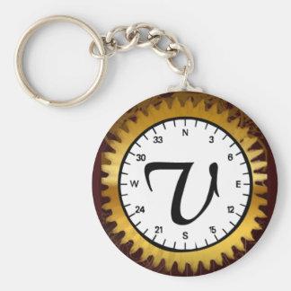Letter V Clockwork Keychain