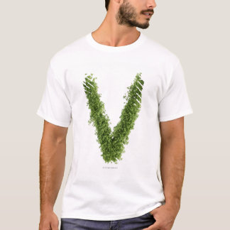 Letter 'V' in cress on white background, T-Shirt