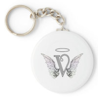 Letter V Initial Monogram with Angel Wings & Halo Keychains