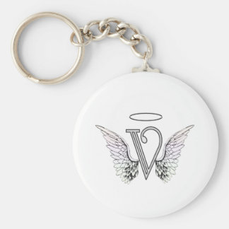 Letter V Initial Monogram with Angel Wings & Halo Keychain
