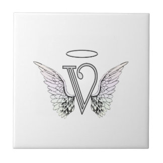Letter V Initial Monogram with Angel Wings & Halo Tile