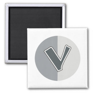 Letter V 2 Inch Square Magnet