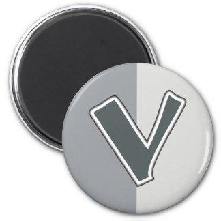 Letter V 2 Inch Round Magnet