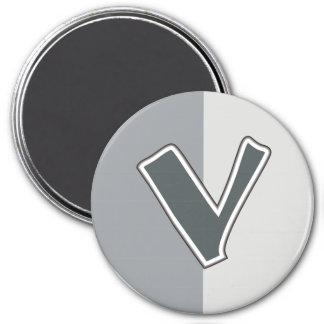 Letter V 3 Inch Round Magnet