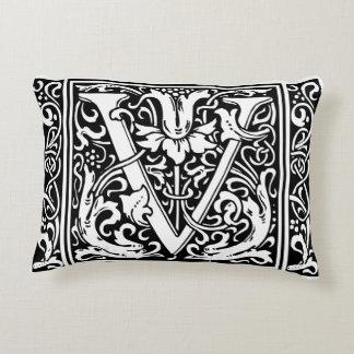 Letter V Medieval Monogram Vintage Initial Decorative Pillow