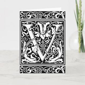 Letter V Medieval Monogram Vintage Initial Note Card