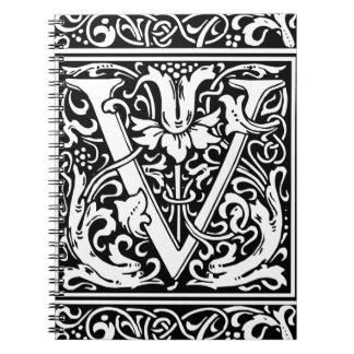 Letter V Medieval Monogram Vintage Initial Spiral Notebook