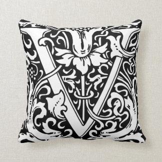 Letter V Medieval Monogram Vintage Initial Throw Pillow