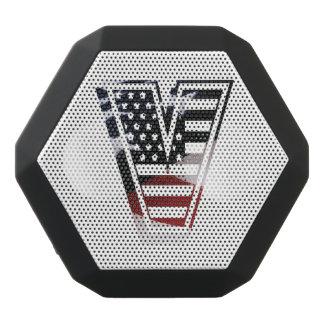 Letter V Monogram Initial Patriotic USA Flag Black Bluetooth Speaker