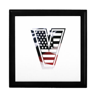 Letter V Monogram Initial Patriotic USA Flag Gift Box