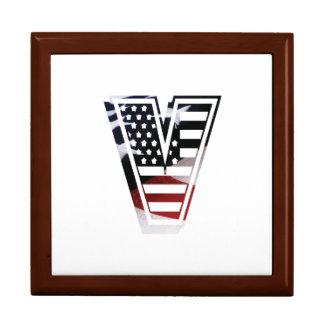 Letter V Monogram Initial Patriotic USA Flag Jewelry Box