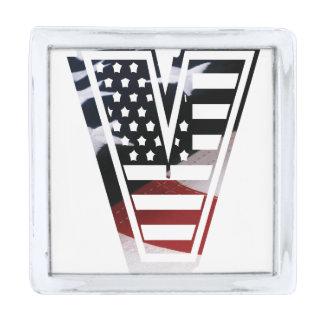Letter V Monogram Initial Patriotic USA Flag Silver Finish Lapel Pin
