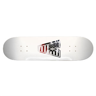 Letter V Monogram Initial Patriotic USA Flag Skateboard Deck
