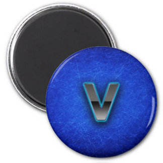 Letter V - neon blue edition 2 Inch Round Magnet