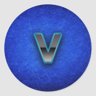 Letter V - neon blue edition Classic Round Sticker