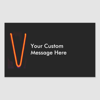 """Letter """"V"""" Neon Light Monogram Rectangular Sticker"""