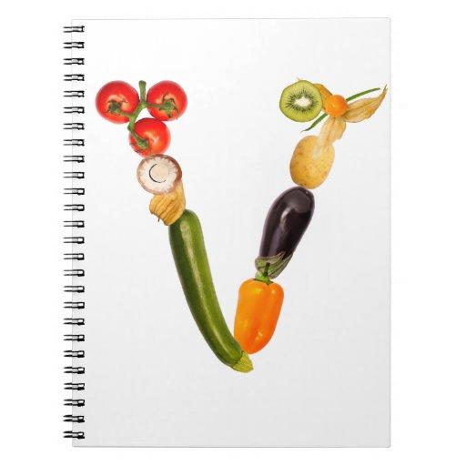 "letter ""v"" of fruits and vegetables libretas espirales"