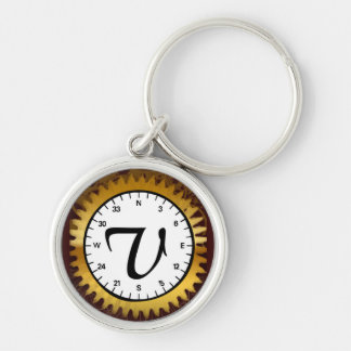 Letter V Premium Clockwork Keychain
