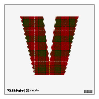 letter V punk rock red tartan plaid rockabilly emo Room Graphic