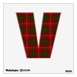 letter V punk rock red tartan plaid rockabilly emo Wall Sticker