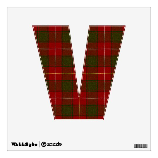 letter V punk rock red tartan plaid rockabilly emo Wall Sticker