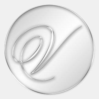 Letter V script initial faux silver monogram favor Classic Round Sticker