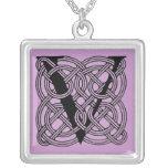 Letter V Vintage Celtic Knot Monogram Silver Plated Necklace