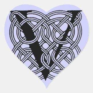 Letter V Vintage Celtic Knot Monogram Heart Sticker